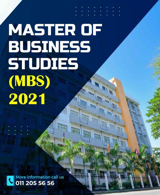 Master of Business Studies – MBS 2021